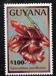 Guyana 1990 (?) F D Roosevelt opt on $100.00 orchid (Epistephium p) from World Personalities overprints, unmounted mint as SG type 465