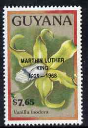 Guyana 1990 (?) Martin Luther King opt on $7.65 orchid (Vanilla i) from World Personalities overprints, unmounted mint as SG type 465