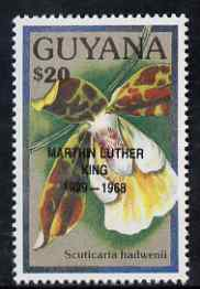 Guyana 1990 (?) Martin Luther King opt on $20.00 orchid (Scuticaria h) from World Personalities overprints, unmounted mint as SG type 465