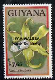 Guyana 1990 (?) Lech Walesa opt on $7.65 orchid (Vanilla i) from World Personalities overprints, unmounted mint as SG type 465