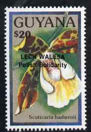 Guyana 1990 (?) Lech Walesa opt on $20.00 orchid (Scuticaria h) from World Personalities overprints, unmounted mint as SG type 465