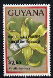 Guyana 1990 (?) Raoul Wallenberg (Hero of the Holocaust) opt on $7.65 orchid (Vanilla i) from World Personalities overprints, unmounted mint as SG type 465