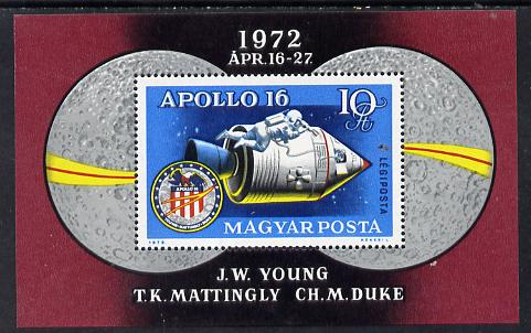 Hungary 1972 Apollo 16 m/sheet unmounted mint SG MS 2726 (Mi Bl 93), stamps on space