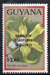 Guyana 1990 (?) Napoleon Bonaparte opt on $7.65 orchid (Vanilla i) from World Personalities overprints, unmounted mint as SG type 465