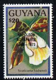 Guyana 1990 (?) Napoleon Bonaparte opt on $20.00 orchid (Scuticaria h) from World Personalities overprints, unmounted mint as SG type 465