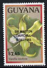 Guyana 1990 (?) Sir Winston Churchill opt on $7.65 orchid (Vanilla i) from World Personalities overprints, unmounted mint as SG type 465