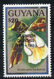 Guyana 1990 (?) Sir Winston Churchill opt on $20.00 orchid (Scuticaria h) from World Personalities overprints, unmounted mint as SG type 465