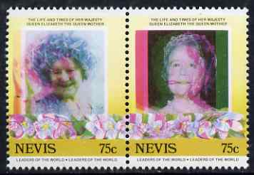 Nevis 1985 Life & Times of HM Queen Mother (Leaders of theWorld) 75c se-tenant pair with superb 3mm misplacement of magenta colour resulting in blurring and double portrait, unmounted mint, as SG 311avar
