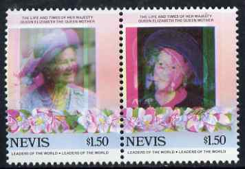 Nevis 1985 Life & Times of HM Queen Mother (Leaders of theWorld) $1.50 se-tenant pair with superb 3mm misplacement of magenta colour resulting in blurring and double portrait, unmounted mint, as SG 315avar