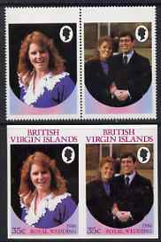 British Virgin Islands 1986 Royal Wedding 35c se-tenant pair with Country name & value omitted, plus imperf pair as normal, all unmounted mint, SG 605avar