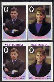 Montserrat 1986 Royal Wedding 70c se-tenant pair with Country name & value omitted, plus imperf pair as normal, all unmounted mint, SG 691avar