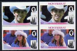 Montserrat 1986 Royal Wedding $2 se-tenant pair with Country name & value omitted, plus imperf pair as normal, all unmounted mint, SG 693avar