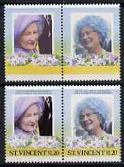 St Vincent 1985 Life & Times of HM Queen Mother (Leaders of theWorld) $1.20 se-tenant pair with black omitted (Country & value) plus normal pair, all unmounted mint, as SG 914avar