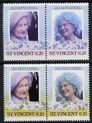 St Vincent 1985 Life & Times of HM Queen Mother (Leaders of theWorld) $1.20 se-tenant pair with yellow omitted (Affects background & Country tablet) plus normal pair, all unmounted mint, as SG 914avar