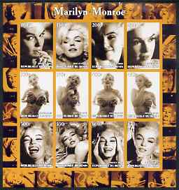 Benin 2003 Marilyn Monroe #1 imperf sheetlet containing 12 values (B&W) unmounted mint