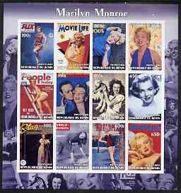 Benin 2003 Marilyn Monroe #2 imperf sheetlet containing 12 values (Magazine Covers) unmounted mint