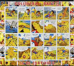 Benin 2003 Gullivera's Travels #02 - (Strip Cartoon) imperf sheetlet of 20 (2 values + 18 labels) unmounted mint