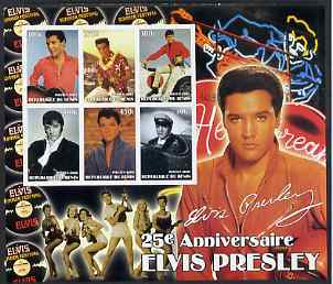Benin 2002 Elvis Presley 25th Death Anniversary special large imperf sheet containing 6 values unmounted mint
