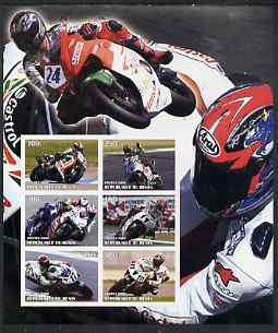 Benin 2002 Racing Motorcycles #1 special large imperf sheet containing 6 values unmounted mint