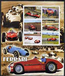 Benin 2002 Ferrari Racing Cars special large imperf sheet containing 6 values unmounted mint