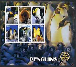 Benin 2002 Penguins special large imperf sheet containing 6 values each with Rotary Logo unmounted mint
