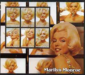 Benin 2003 Marilyn Monroe large imperf sheet containing 6 values, unmounted mint