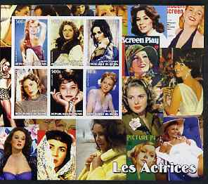 Benin 2003 Actresses large imperf sheet containing 6 values, (showing B Bardot, Greta Garbo, Liz Taylor, Ingrid Bergman, Sophia Loren & Joan Fontaine) unmounted mint