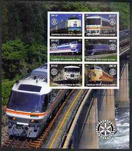 Congo 2004 Modern Trains large imperf sheet containing 6 values (each with Rotary Logo), unmounted mint