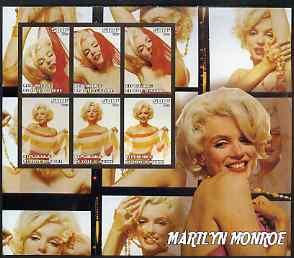 Ivory Coast 2003 Marilyn Monroe large imperf sheet containing 6 values, unmounted mint