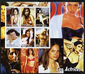Ivory Coast 2003 Actresses large imperf sheet containing 6 values, (showing C Zeta-Jones, J Lopez, P Cruz etc) unmounted mint