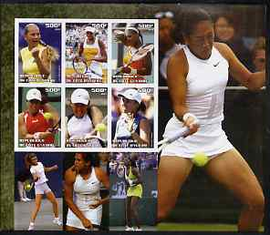 Ivory Coast 2003 Famous Tennis Women large imperf sheet containing 6 values, (showing Williams Sisters, Kournikova, Capriati etc) unmounted mint