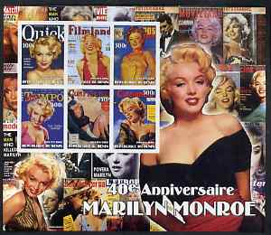 Benin 2002 40th Death Anniversary of Marilyn Monroe #01 special large imperf sheet containing 6 values unmounted mint