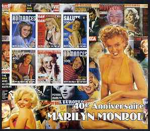 Benin 2002 40th Death Anniversary of Marilyn Monroe #02 special large imperf sheet containing 6 values unmounted mint