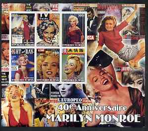 Benin 2002 40th Death Anniversary of Marilyn Monroe #03 special large imperf sheet containing 6 values unmounted mint