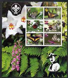 Congo 2004 Butterflies large imperf sheet containing 6 values (each with Orchid & Scout Logo), unmounted mint