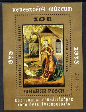 Hungary 1973 Paintings in Christian Museum m/sheet (Birth of Jesus) unmounted mint SG MS 2843 (Mi Bl 102)