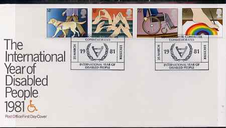 Great Britain 1981 International Year of the Disabled set of 4 on illustrated PO FDC with Leicestershire Committe IYDP special cancel (Bradbury 8)