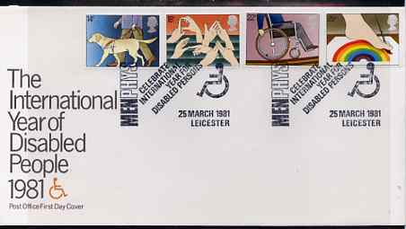 Great Britain 1981 International Year of the Disabled set of 4 on illustrated PO FDC with Menphys IYDP, Leicestershire special cancel (Bradbury 5)