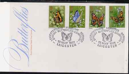Great Britain 1981 Butterflies set of 4 on illustrated PO FDC with Leicester Museums special cancel (Bradbury 10)