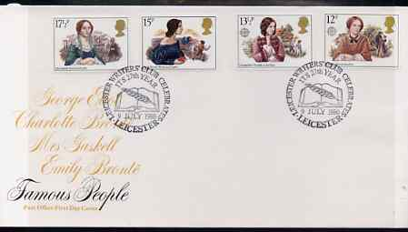 Great Britain 1980 Famous Authoresses set of 4 on illustrated PO FDC with Leicester Writers' Club special cancel (Bradbury 5)