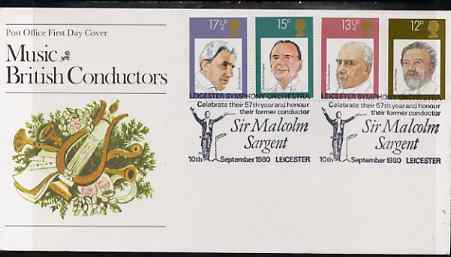 Great Britain 1980 British Conductors set of 4 on illustrated PO FDC with Leicester Symphony Orchestra special cancel (Bradbury 5)