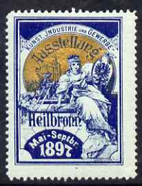 Cinderella - Germany 1897 Art & Industry Trade Exhibition, Heilbronn, perf label very fine with full gum