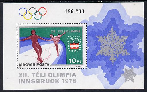 Hungary 1975 Winter Olympics m/sheet (Skating) SG MS 3012 (mi Bl 116)