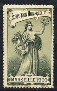 Cinderella - France 1900 International Exhibition, Marseille, perf label very fine with full gum