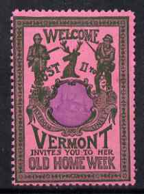 Cinderella - United States 1901 Vermont Old Home Week, perf label #1 in purple & blue on rose very fine with full gum