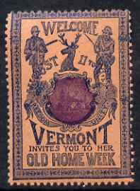 Cinderella - United States 1901 Vermont Old Home Week, perf label #2 in purple & blue on salmon very fine with full gum