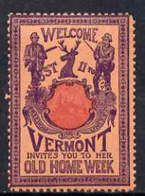 Cinderella - United States 1901 Vermont Old Home Week, perf label #3 in red & purple on salmon very fine with full gum