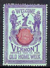 Cinderella - United States 1901 Vermont Old Home Week, perf label #6 in red & blue on green very fine with full gum