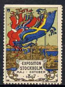Cinderella - Sweden 1897 Exhibition, Stockholm perf label (perf on 3 sides) very fine with full gum, stamps on cinderella, stamps on exhibitions, stamps on flags