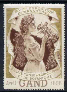 Cinderella - Belgium 1998 Royal Society of Agriculture & Botany Exhibition, Gand (Ghent) perf label (Gold background) slight wrinkles & signs of ageing with full gum